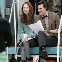 Matt Smith e Karen Gillan sul set del loro primo episodio di Doctor Who